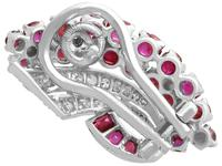 1.86ct Ruby & 0.55ct Diamond, 12ct White Gold Earrings c.1930 (5 of 9)