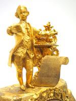 Superb Timepiece Mantle Clock -  Antique 8 Day French Poet Figural Ormolu Mantel Clock (11 of 11)