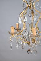 Lovely French Glass & Brass Five Arm Chandelier (2 of 7)
