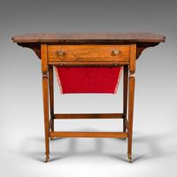 Antique Drop Leaf Sewing Table, English, Rosewood, Side, Lamp, Regency c.1820 (3 of 12)