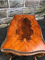 Antique Inlaid Rosewood & Polychrome Painted Coffee Table (8 of 9)