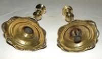 Pair of George III Brass Petal Base Candlesticks (3 of 6)