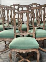 Set of 10 French Bleached Oak Farmhouse Dining Chairs (3 of 16)