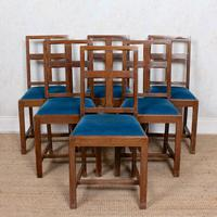 6 Arts & Crafts Carved Oak Dining Chairs (2 of 10)
