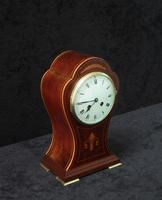 French Art Nouveau Mahogany Inlaid Mantel Clock (5 of 6)