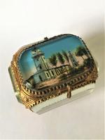 European Glass & Ormolu Scenic Trinket Box (2 of 7)