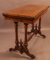 Super Quality Victorian Burr Walnut & Marquetry Card Table (9 of 12)