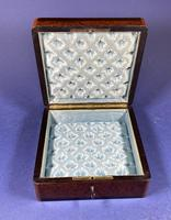 Victorian French Burr Cedar Jewellery Box with Inlay & Original Interior (13 of 13)