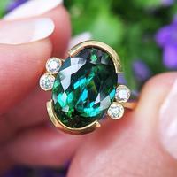 Vintage 18ct Gold Green Tourmaline & Diamond Dress Ring (9 of 13)