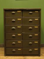 Antique Industrial Green Bank of Metal Army Drawers, Storage Workshop Drawers (11 of 14)