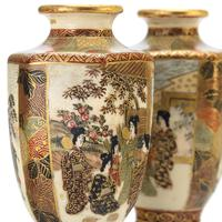 Pair of Small Meiji Period Japanese Satsuma Vases Signed Hododa c1890 (2 of 10)