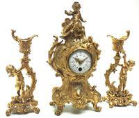 Antique 8 Day Ormolu Mantel Clock Set Cherubs At Play 8 Day Mantle Clock (3 of 11)