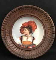 19th Century Hand Painted  Circular Porcelain Framed Plaque (3 of 5)
