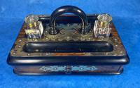 Victorian Brassbound Walnut Inkstand (7 of 16)