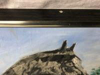 Impressionist Oil Painting Prized Thoroughbred Equestrian Black Horse Portrait (8 of 13)