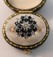 9ct Gold Vintage 1950s Sapphire & Diamond Cluster Ring