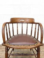 Antique Desk Chair with Leather Seat (4 of 10)