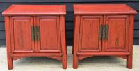 Excellent Pair of Chinese Red Lacquered Cabinets / Cupboards c.1900 (11 of 15)