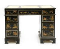 Gorgeous Chinoiserie Pedestal Desk c.1950