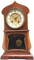 Fantastic Art Nouveau Mantle Clock Tulip Floral Inlay 8 Day Mantle Clock (9 of 10)