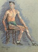 Russian School? Superb 1952 Signed Charcoal Portrait Sketch A Male Model Dancer (5 of 10)