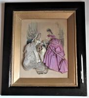 Antique Victorian 3-D fashion picture, textile and print, original frame, 1872 (5 of 10)