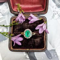Vintage 18ct Gold Emerald & Diamond Cluster Ring (8 of 11)