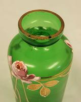 Antique Green Glass Decorated Vase. (5 of 6)