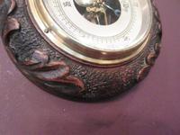 Antique Carved Oak Visible Works Barometer (4 of 5)