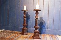 Pair of Tall Cast Iron Pricket Candlesticks (2 of 9)