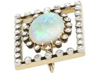 2.23ct Opal & 0.82ct Diamond, 9ct Yellow Gold Brooch - Antique c.1900 (3 of 9)
