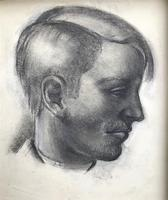 Original Black & White Chalk Drawing 'Young Man in Profile' by Hector MacDonald Sutton - Framed (2 of 2)