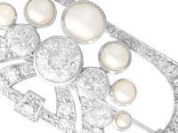 3.51ct Diamond & Pearl, Platinum Brooch - Art Deco c.1930 (2 of 9)