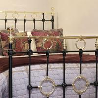 Black Victorian Brass & Iron Bedstead with Brass Circles (3 of 11)