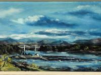 20th Century Oil Painting Wales Menai Bridge Church Straits Snowdonia Mountains (22 of 27)
