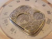 Antique Pocket Watch Chain Fob 1920s J W Benson Silver Nickel Coin Holder Fob (8 of 10)