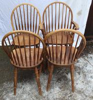 1940s Set 4 Ash Comb Back Chairs. 3 + 1 Carver (3 of 3)