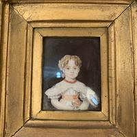 Antique Victorian portrait in oil of a young girl child in ornate gesso frame 2 of 2 (4 of 10)