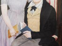 Large Oil on Canvas Portrait of Brother & Sister 1860 (2 of 13)