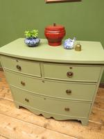 Antique Green Bow Fronted Chest of Drawers, Shabby Chic (14 of 18)