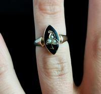 Antique Navette Mourning Ring, Black Enamel & Pearl, Ivy Leaf, 9ct Gold (9 of 10)