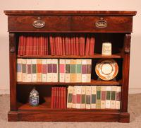 19th Century Mahogany Open Bookcase with Two Drawers