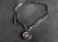 Antique Silver Albert Watch Chain and Enameled 1897 South African Shilling Fob in Silver Mount, 15 Inch (11 of 12)