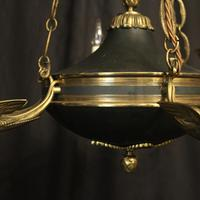 French Gilded Brass Empire 6 Light Antique Chandelier (3 of 10)