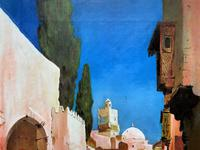 Augusta Coles Moroccan Cityscape Oil Painting Mahogany Fire Screen c.1911 (4 of 16)