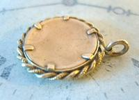 Edwardian Pocket Watch Chain Photograph Fob 1900s Antique Gilt Sepia Fob (8 of 8)