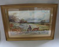Pair of Gilt Framed Watercolour Paintings of Grouse (5 of 9)