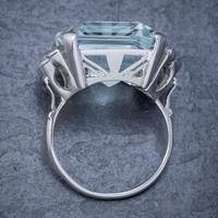 Art Deco Aquamarine Diamond Ring Platinum 25ct Emerald Cut Aqua c 1930 (3 of 5)