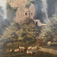 Antique Victorian landscape oil painting study of a ruin with sheep (8 of 10)