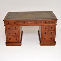 Antique Victorian Mahogany Leather Top Pedestal Desk (2 of 12)